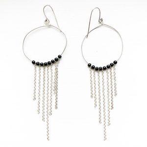 Silver chain & black bead dreamcatcher earrings